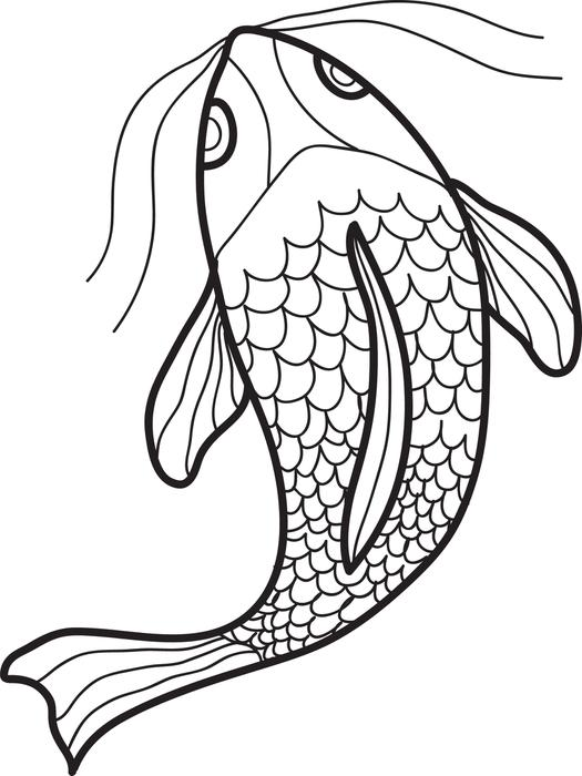 525x700 Free Printable Swimming Fish Coloring Page For Kids