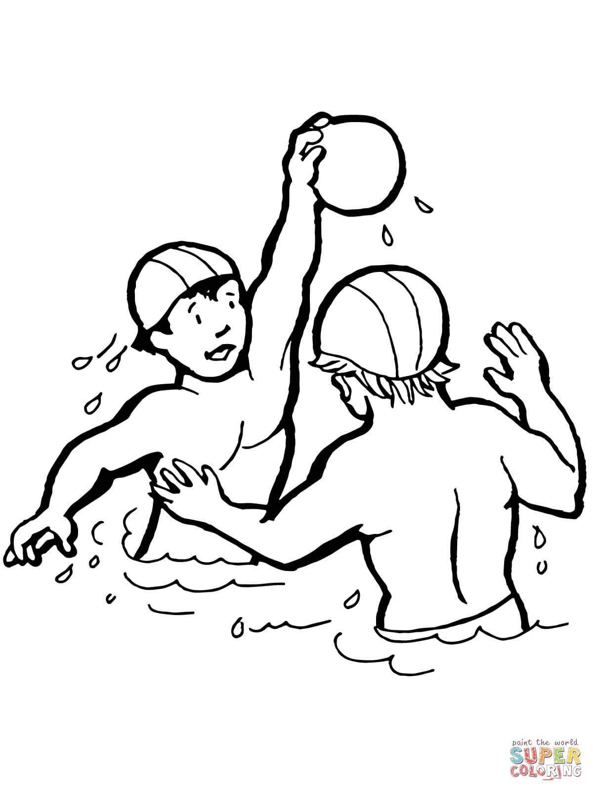 1200x1600 Kids Playing Water Polo Coloring Page Free Printable Coloring Pages