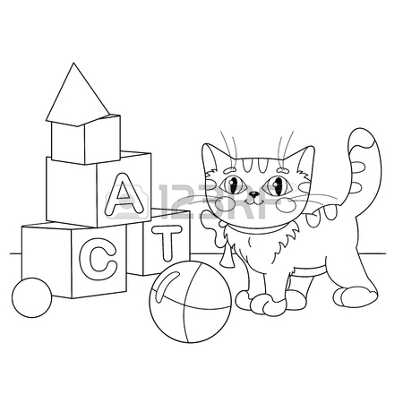 450x450 Coloring Page Outline Of Cartoon Cat Playing With Toys. Coloring