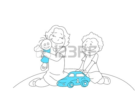 450x336 Drawing Of Kids Playing With Toys Royalty Free Cliparts, Vectors
