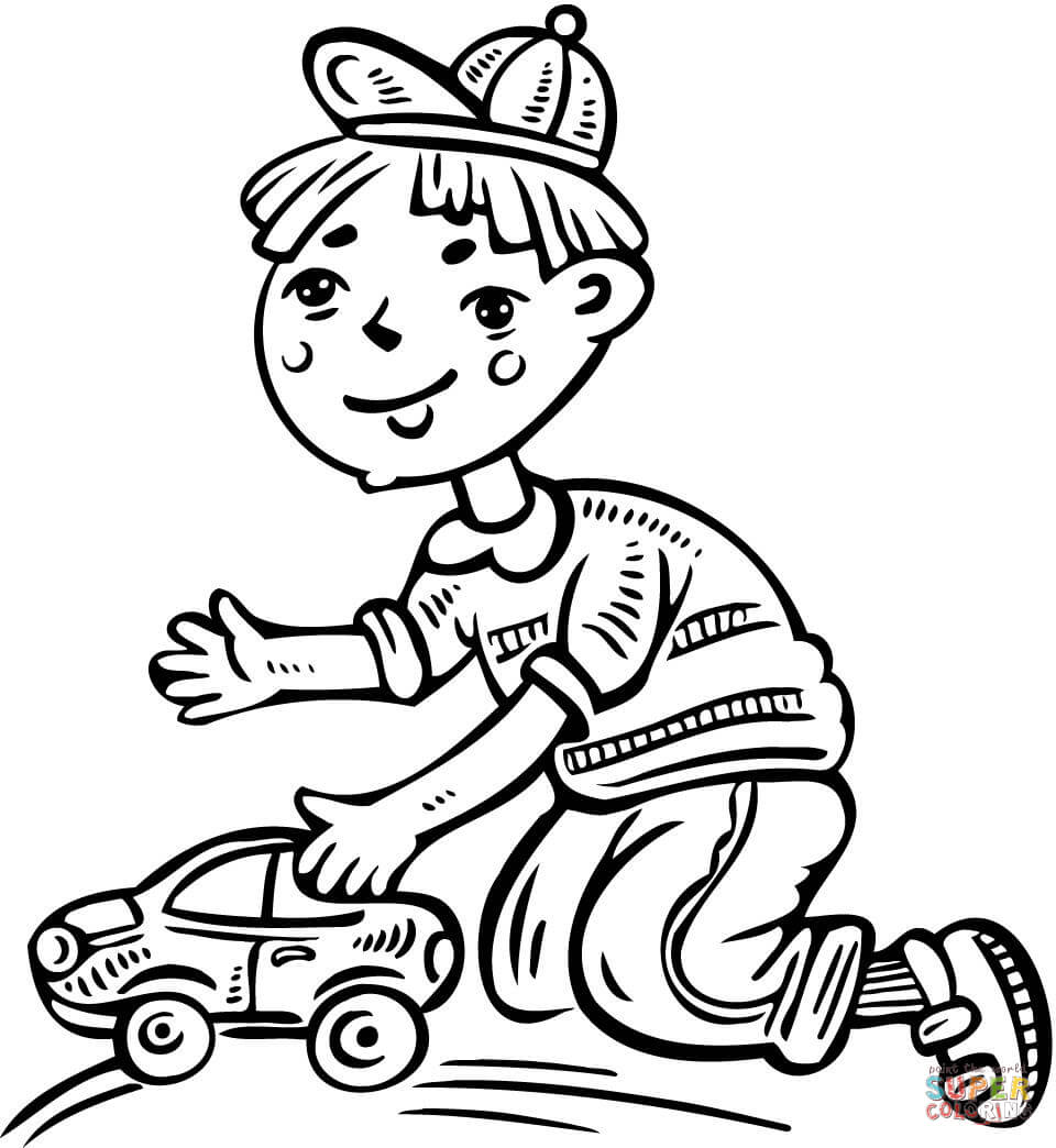 960x1044 Little Boy Playing With A Toy Plane Coloring Page Free Printable