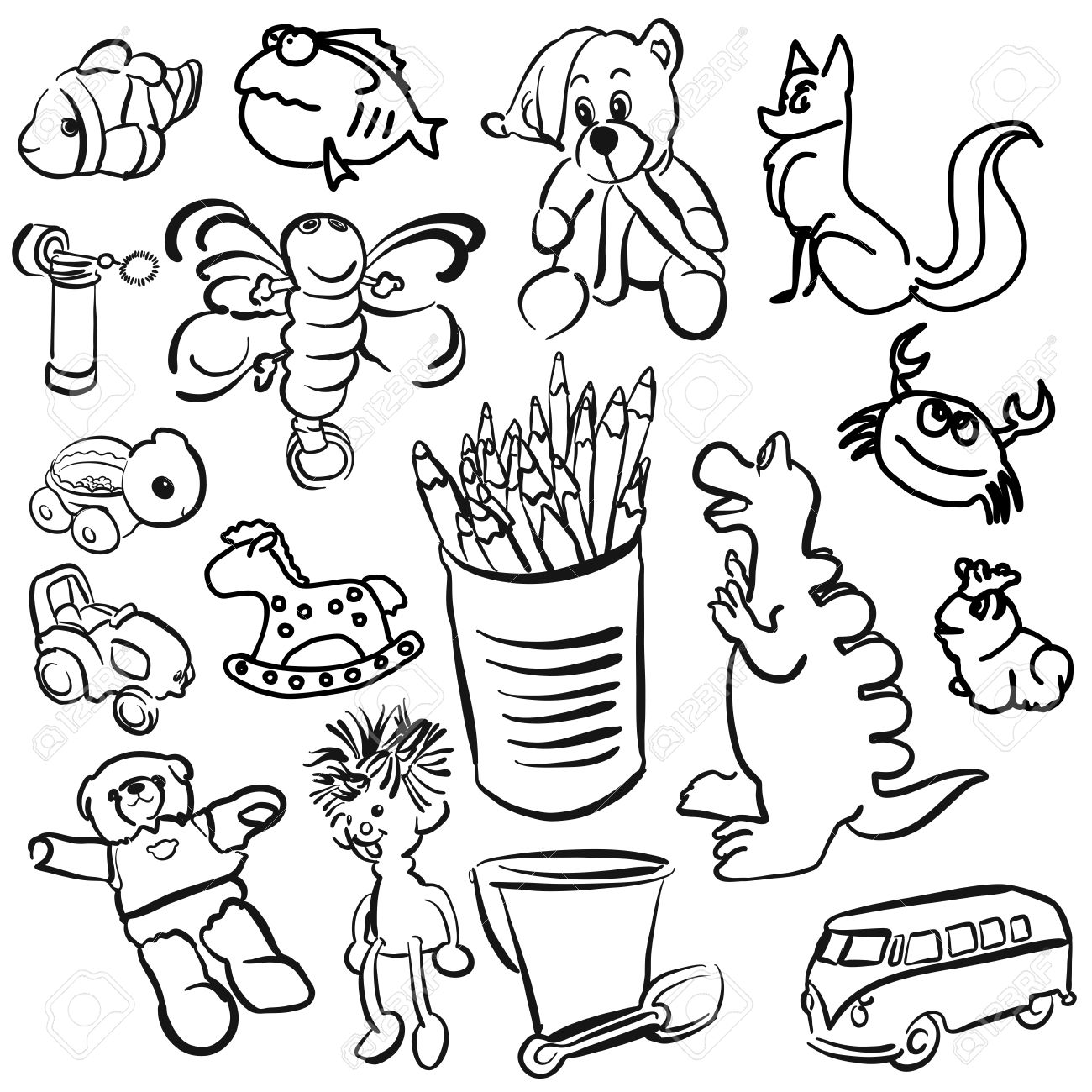 1300x1300 Big Set Of Sketched Kids Toys, Vector Outline Toon Artwork Royalty