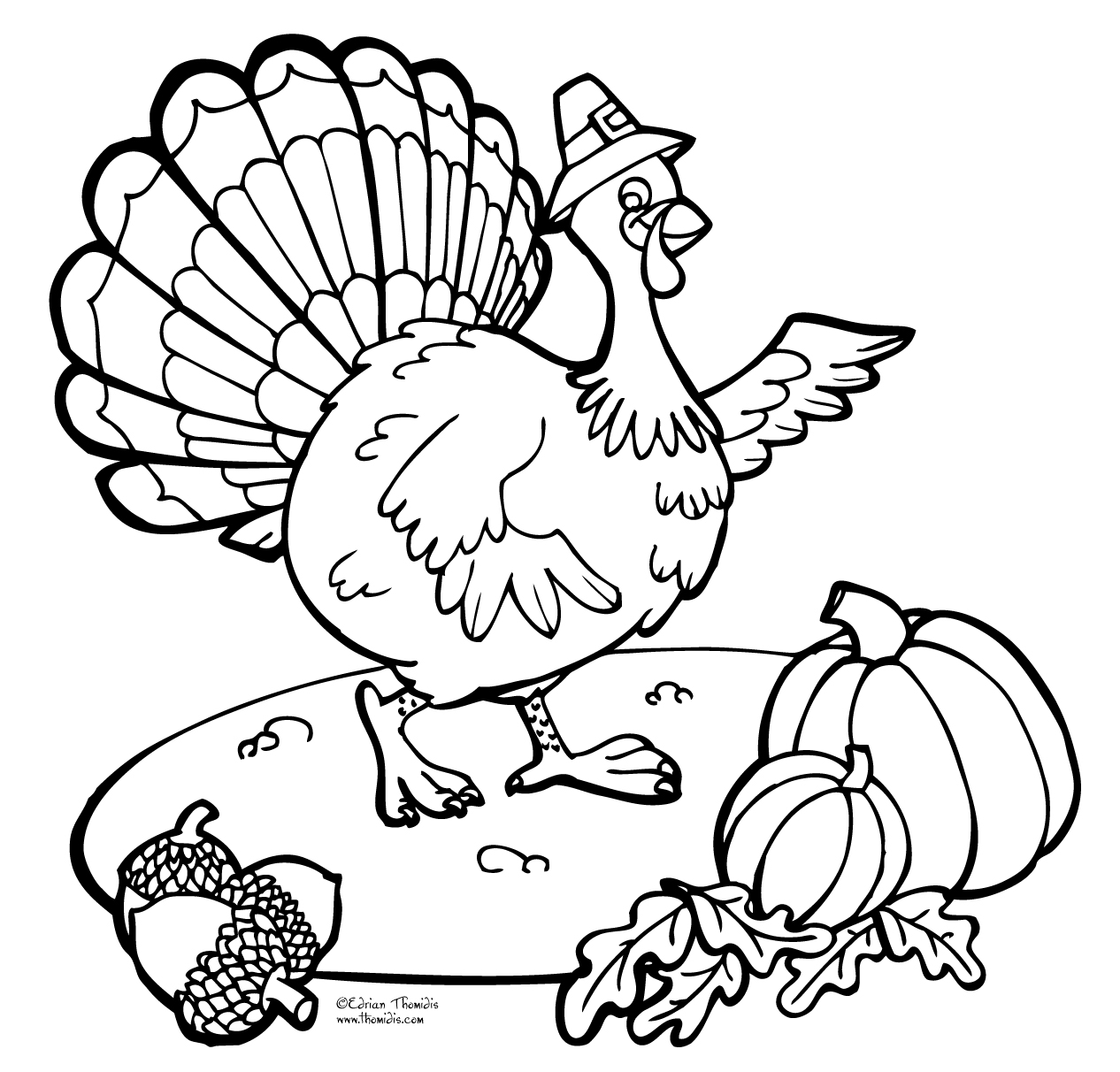 1266x1212 Easy Turkey Coloring Page For Thanksgiving Fancy Image