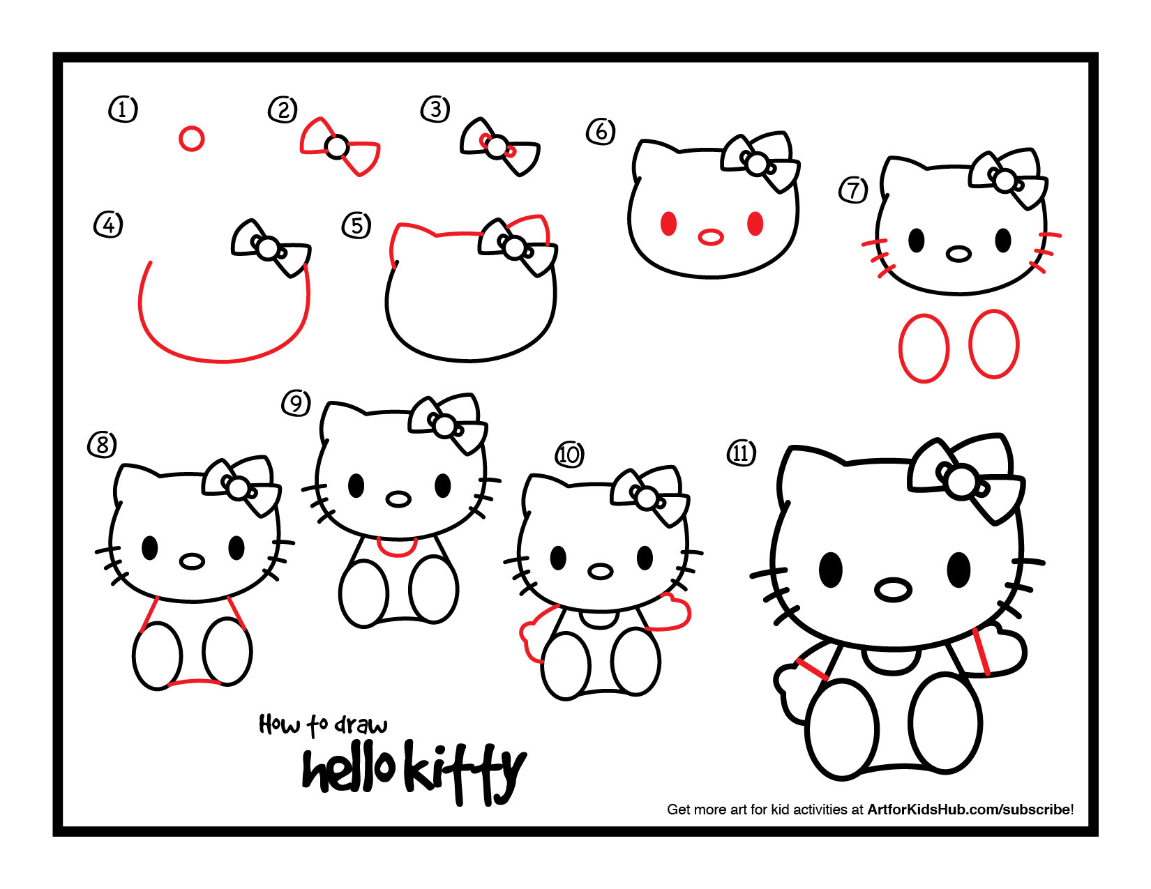 1650x1275 How To Draw Hello Kitty Easy Drawing Pinterest