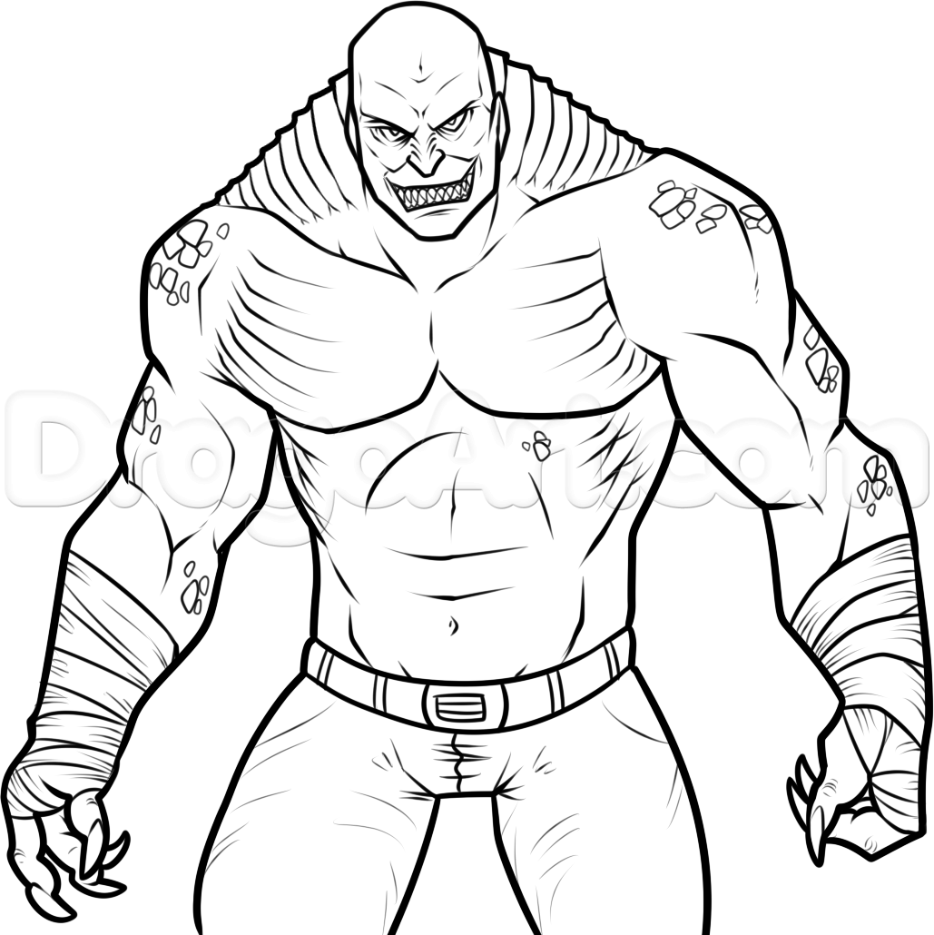 1029x1030 How To Draw Killer Croc From Suicide Squad, Step By Step, Dc