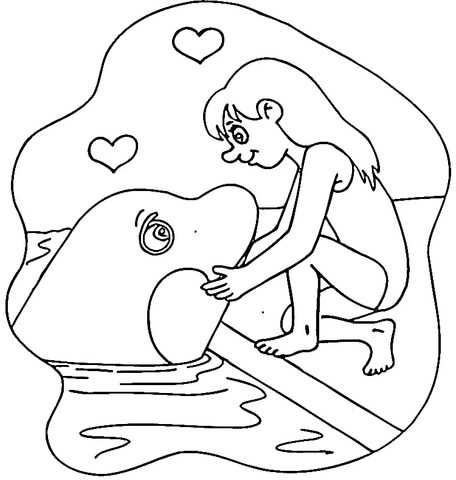 456x480 Killer Whale And Girl Coloring Page Free Printable Coloring Pages