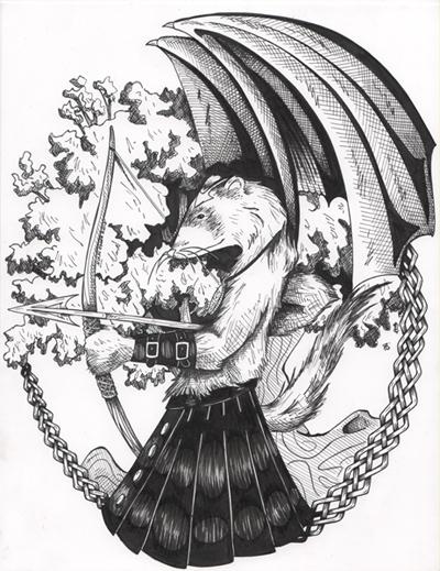 400x519 Ferret In Leather Kilt By Dragonpress