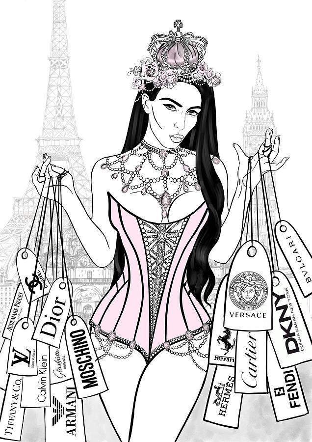 636x900 Kim Kardashian Illustration Mixed Media By Aemiliana Magnus