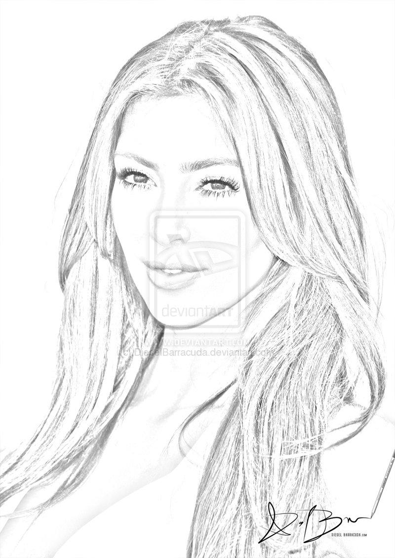 800x1128 Kim Kardashian Sketch Sketch Coloring Page