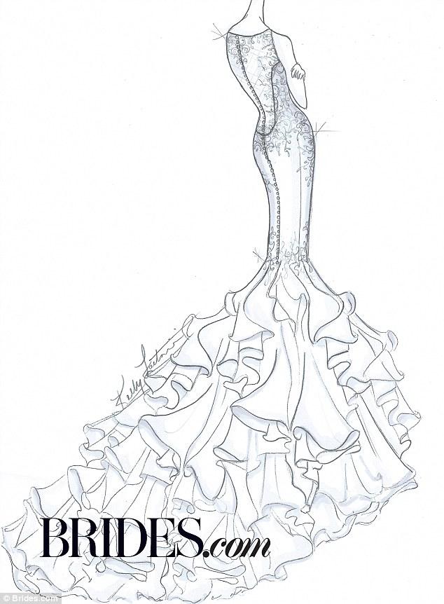634x862 Kim Kardashian's Wedding Gown Bridal Designers Sketch Her Dress