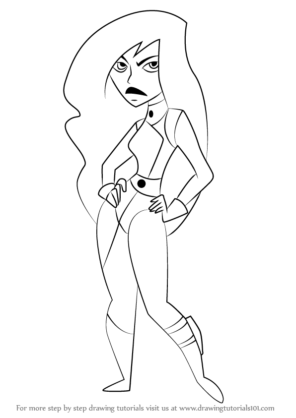 596x843 Learn How To Draw Shego From Kim Possible (Kim Possible) Step By