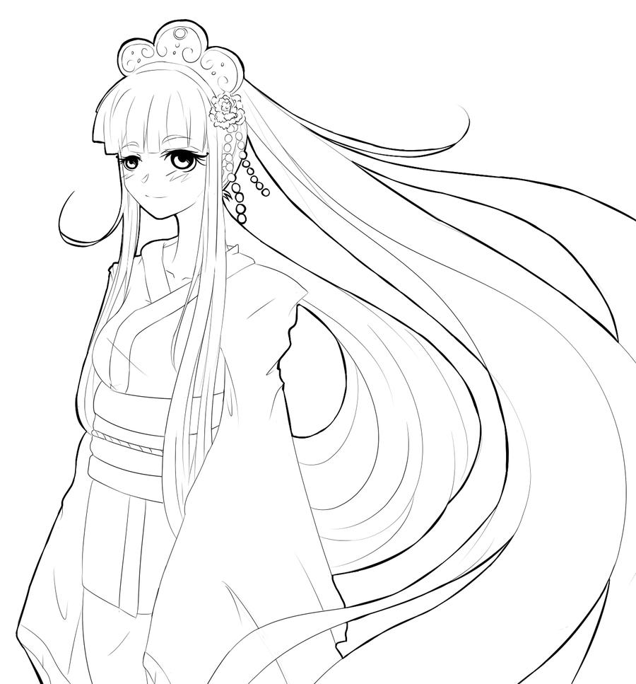900x967 Kimono Girl By Azurebladexiii