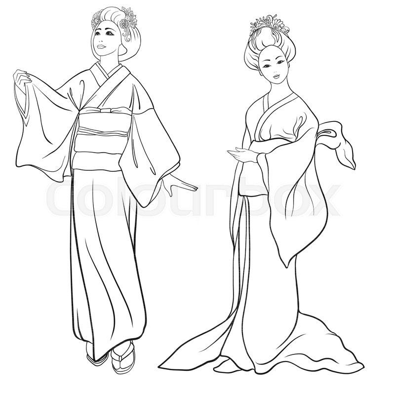 800x800 Young Women In Traditional Japanese Kimono, Isolated Drawing