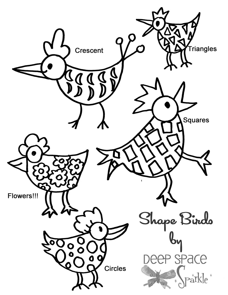 800x1035 Watercolor Shape Birds For Kinder Kindergarten, Bird And Shapes