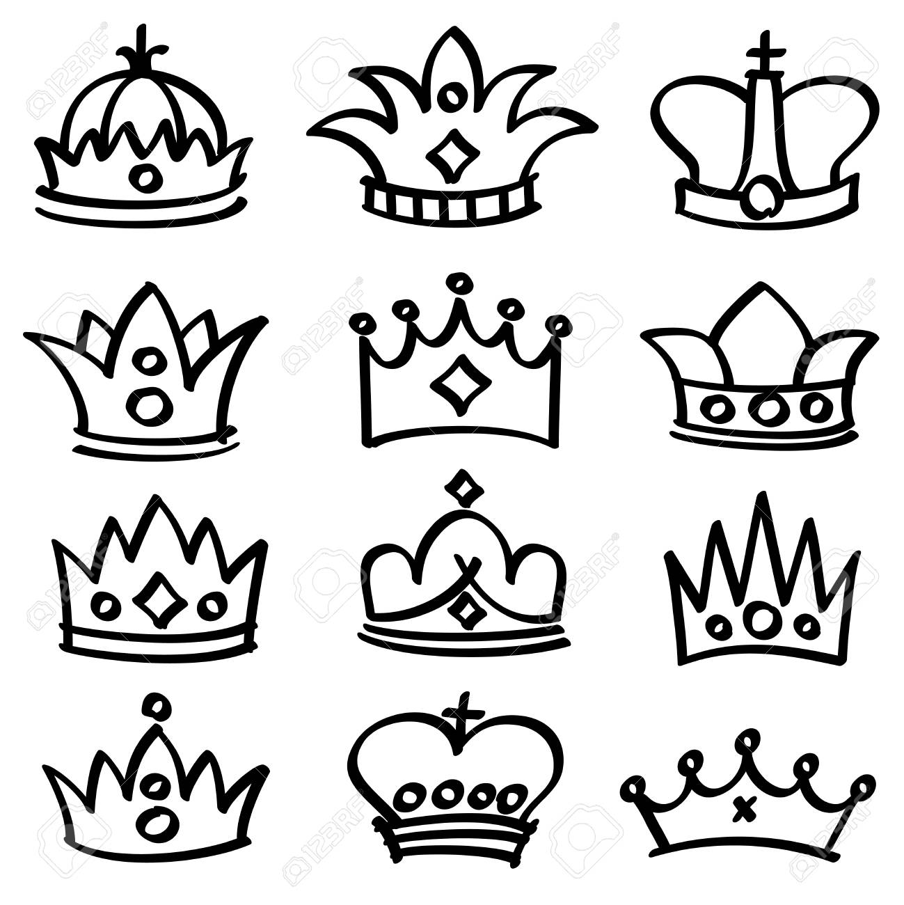 1299x1300 Luxury Doodle Queen Crowns Vector Sketch Collection. King Crown