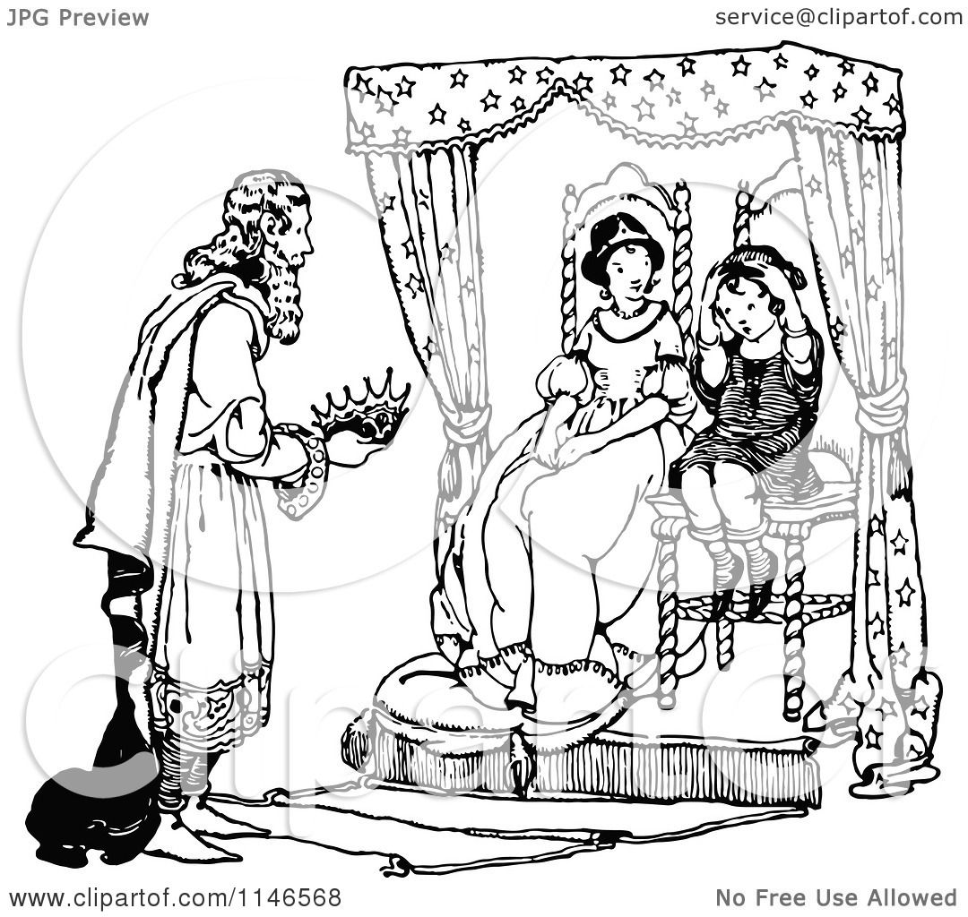 1080x1024 Clipart Of A Retro Vintage Black And White King Giving A Boy His