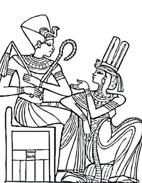 600x776 King Tut Coloring Page An Ancient Pharaoh And His Queen Coloring