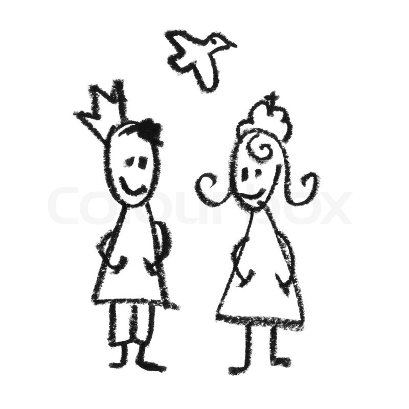 800x800 King And Queen With Flying Dove Doodles Drawing. Stock Photo