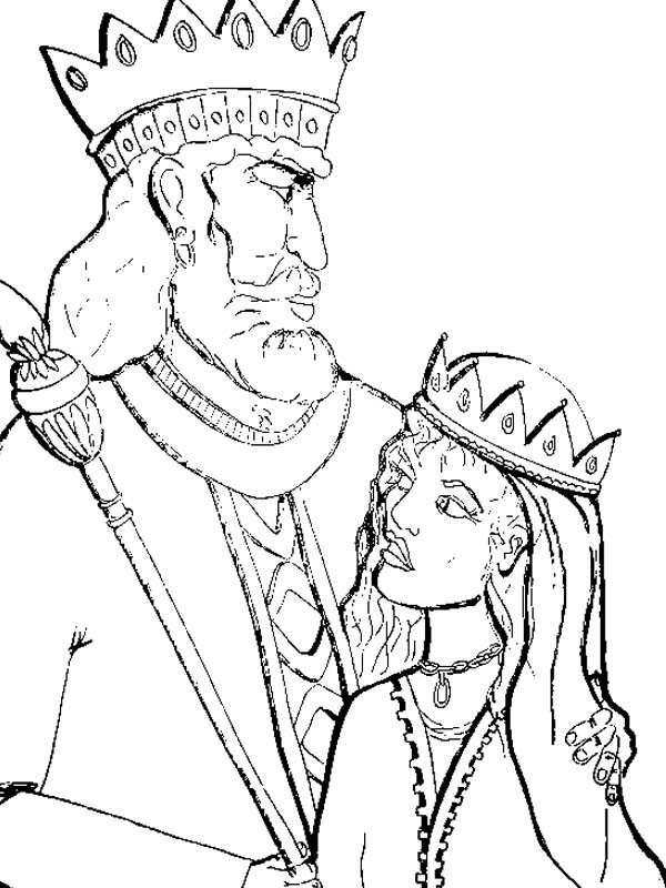 600x800 King Of Persia And Queen Esther In Purim Coloring Page