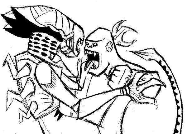 600x429 Alien Queen Vs. King Kong By Rixshaw