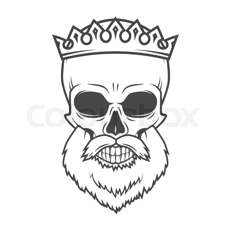 800x800 Bearded Skull With Crown Design Element. Dead King Arthur Vintage