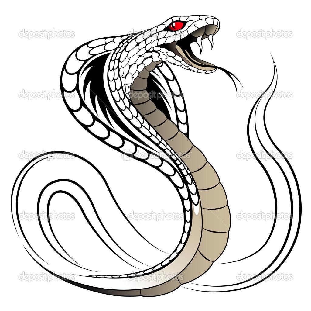 1024x1023 Striking King Cobra Head Drawing