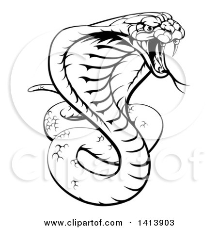 450x470 Clipart Of A Black And White Lineart Angry King Cobra Snake Ready