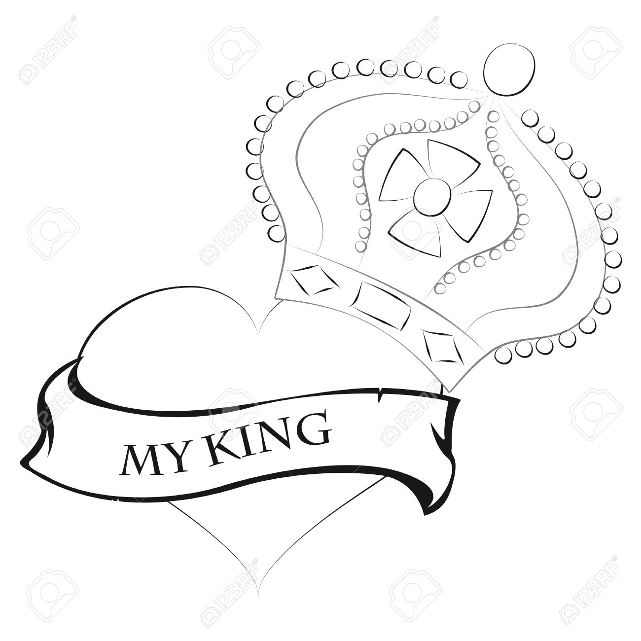 1300x1300 Pencil Drawing Of A Heart Shape With A King Crown King And My