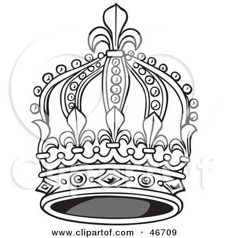 450x470 Clipart Illustration Of A Tall Black And White Elegant King Crown
