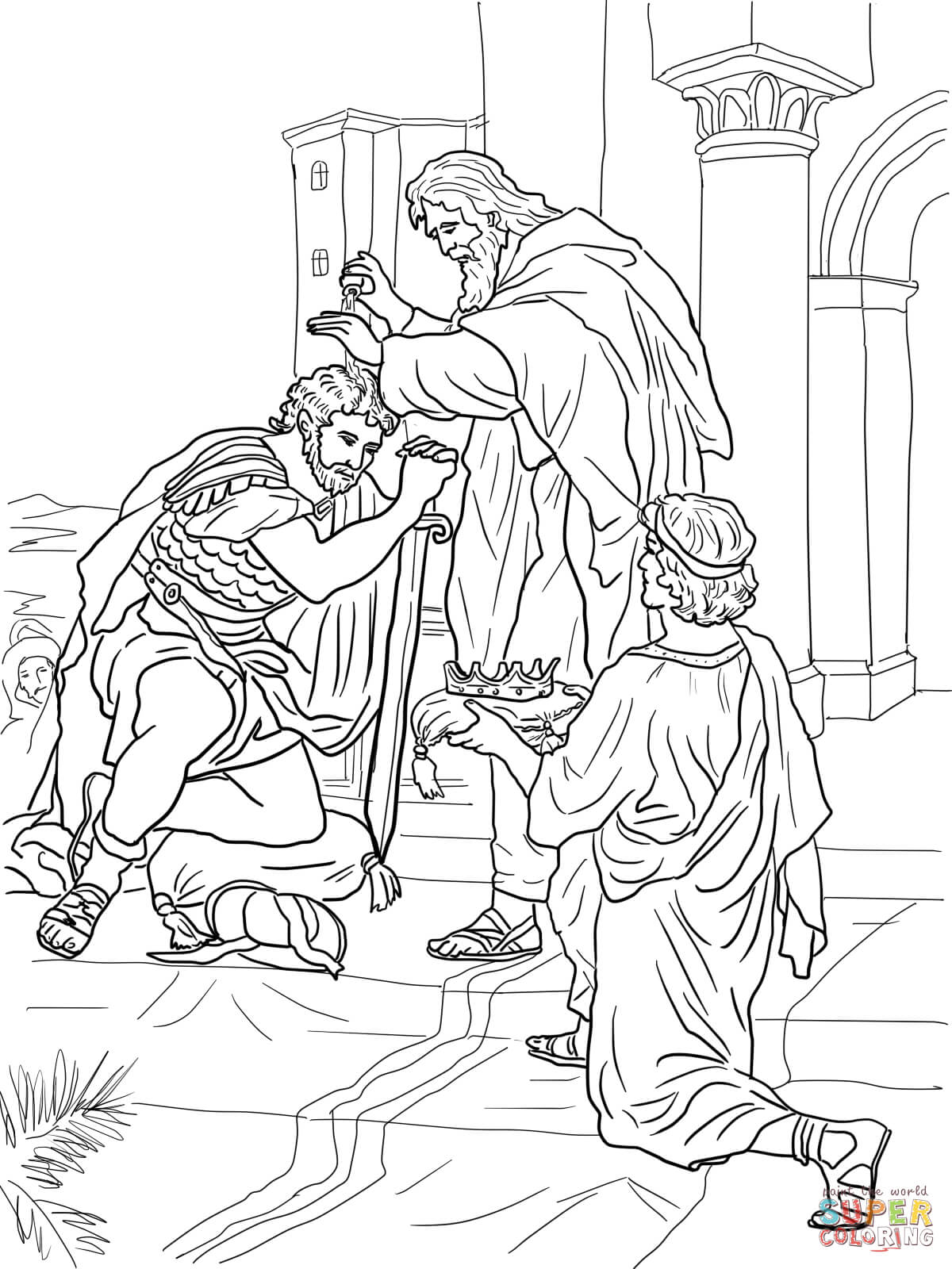 1200x1600 David Is Crowned King Coloring Page Free Printable Coloring Pages