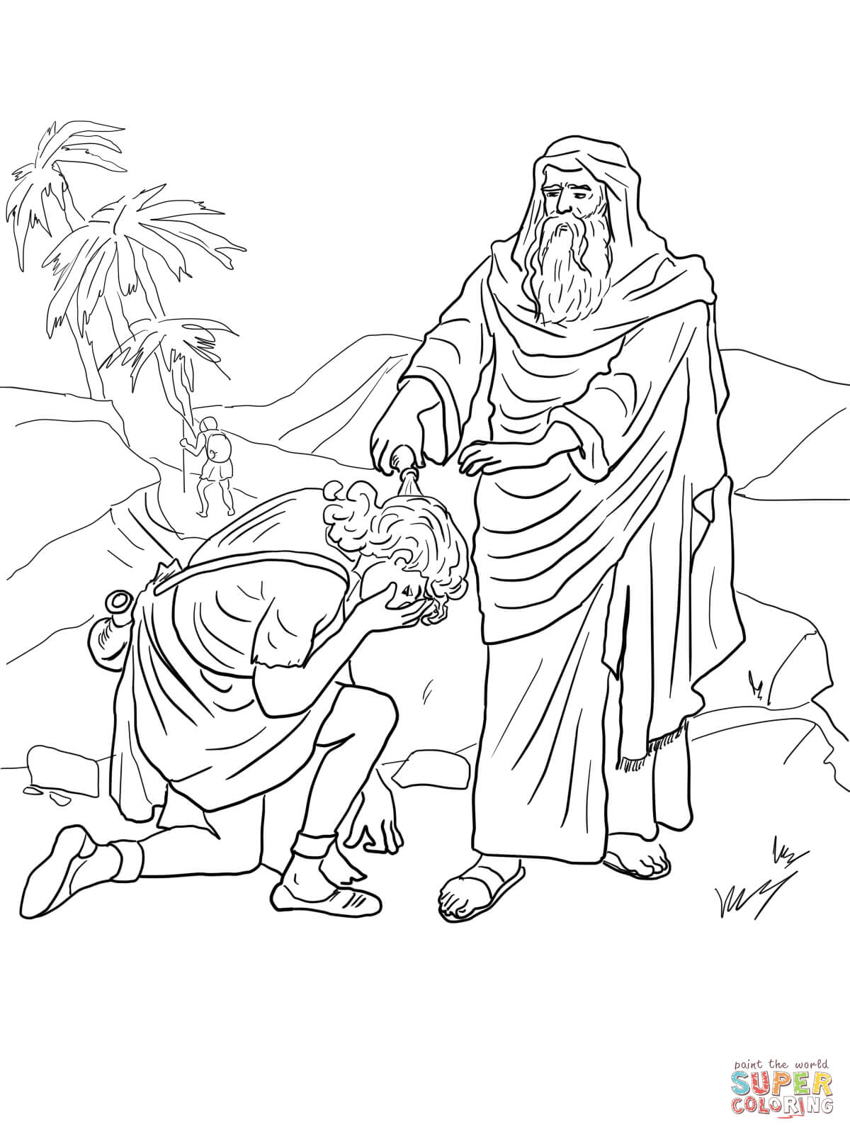 1200x1600 Samuel Anoints David As King Coloring Page Free Printable