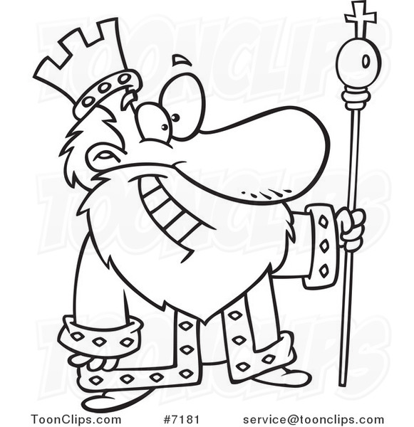 581x600 Cartoon Black And White Line Drawing Of A Friendly King