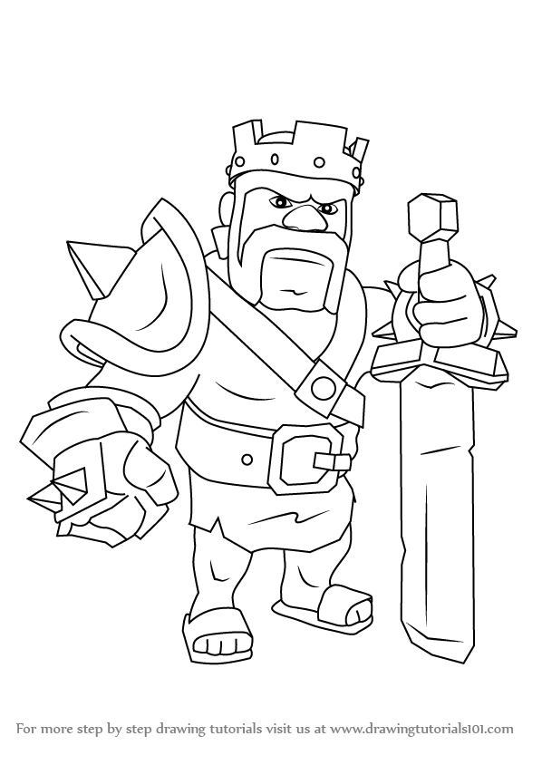 598x844 Learn How To Draw Barbarian King From Clash The Clans (Clash