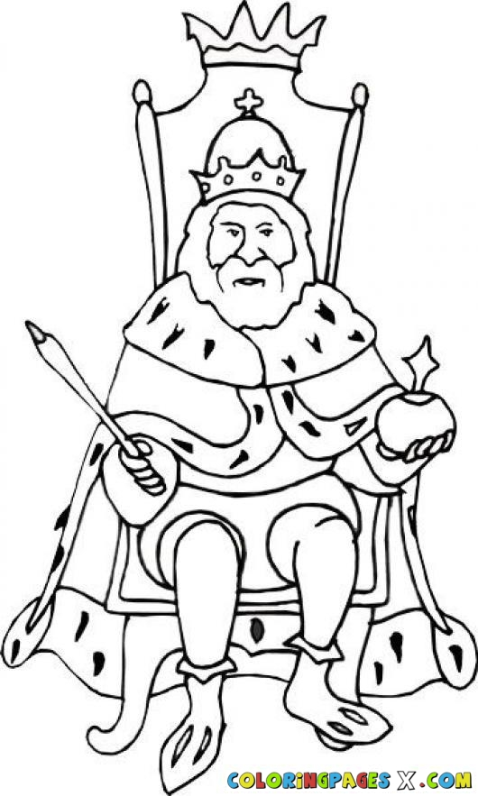 530x883 Drawing King Sitting On His Throne To Paint And Coloring