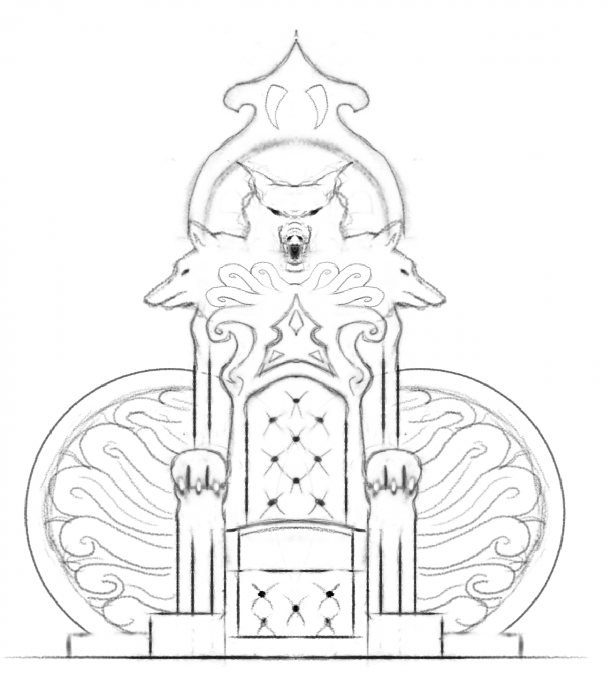 King On Throne Drawing