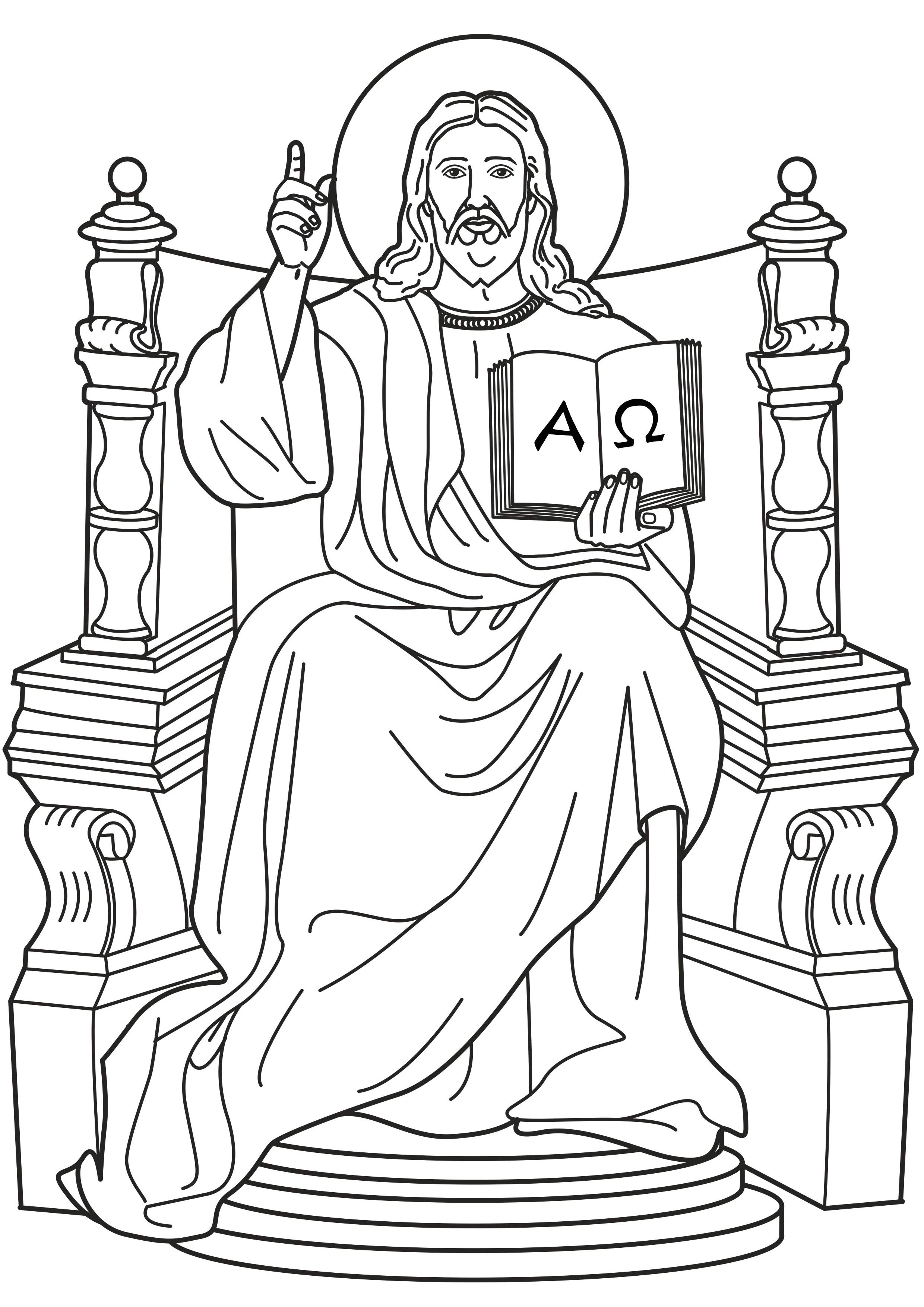 2480x3508 Jesus, King Of Kings. I Am The Alpha And Omega Catholic Coloring