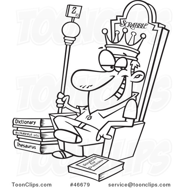 581x600 Cartoon Black And White Scrabble King Sitting On His Throne