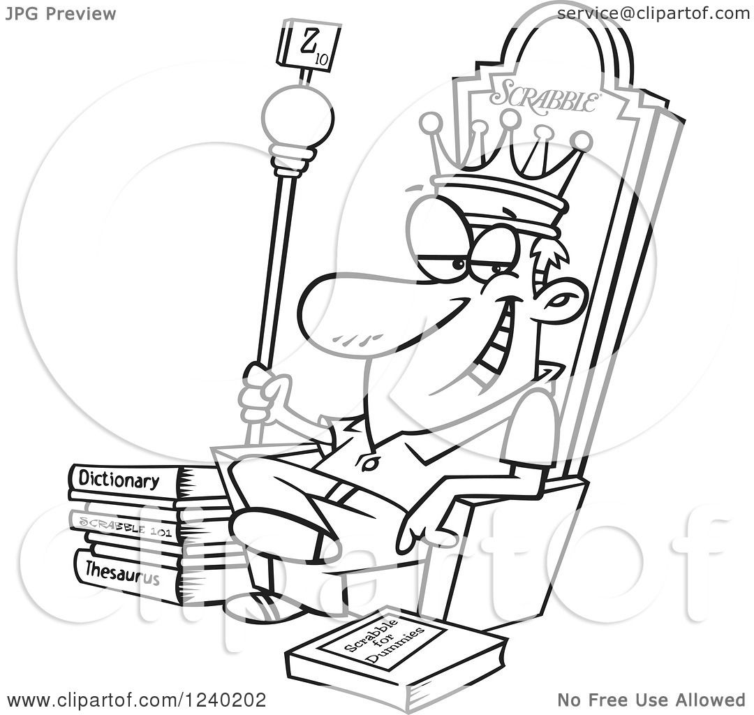 1080x1024 Clipart Of A Black And White Scrabble King Sitting On His Throne