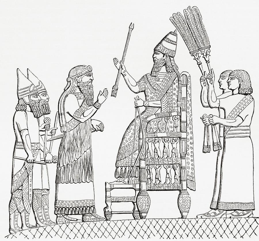 900x840 Sennacherib, Assyrian King, On His Throne Before The City