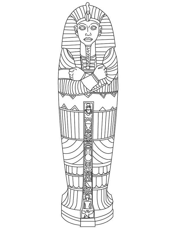 600x775 King Tut Gold Sarcophagus Of Ancient Egypt Coloring Page