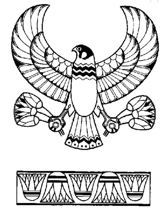 564x698 Ancient Egypt Eagle God Horus Emblem Coloring Page Ancient Egypt
