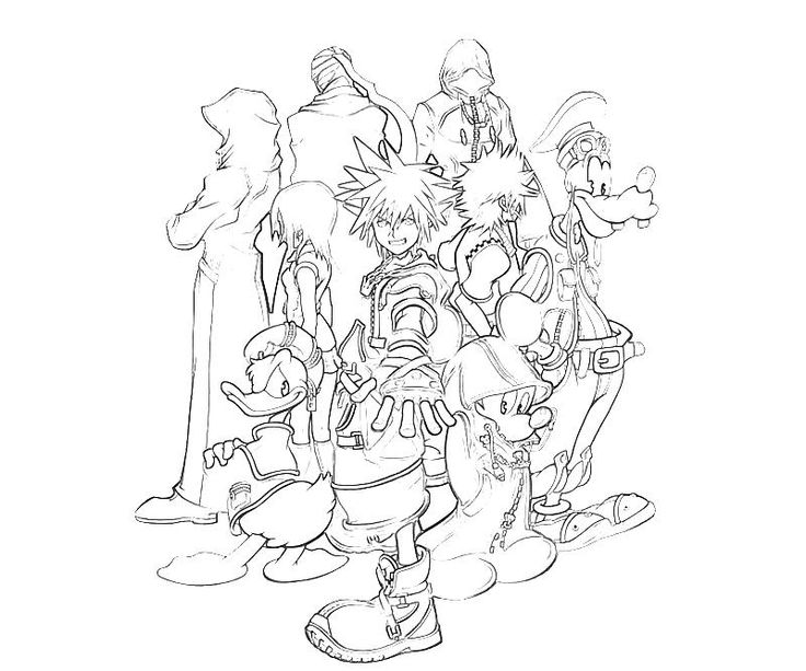 736x613 Kingdom Hearts Coloring Pages
