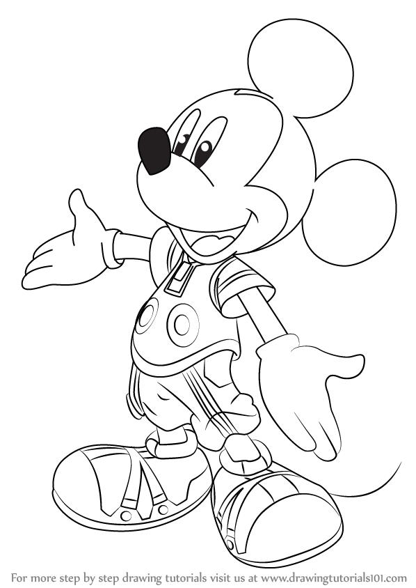 598x844 Learn How To Draw King Mickey From Kingdom Hearts (Kingdom Hearts