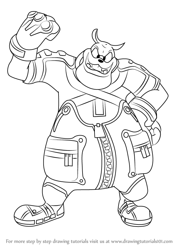 598x844 Learn How To Draw Pete From Kingdom Hearts (Kingdom Hearts) Step