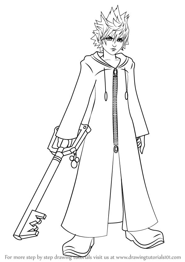 598x844 Learn How To Draw Roxas From Kingdom Hearts (Kingdom Hearts) Step