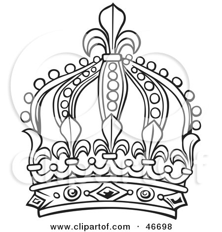 450x470 Clipart Illustration Of A Tall Black And White Ornate King Crown