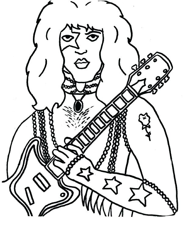 600x776 Kiss Band Coloring Pages Colouring Coloring Collection