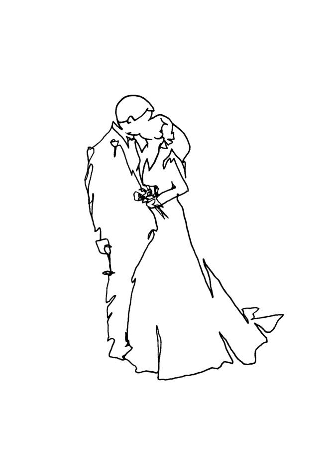 663x900 Personalised Wedding Kiss Drawing By Love Lines