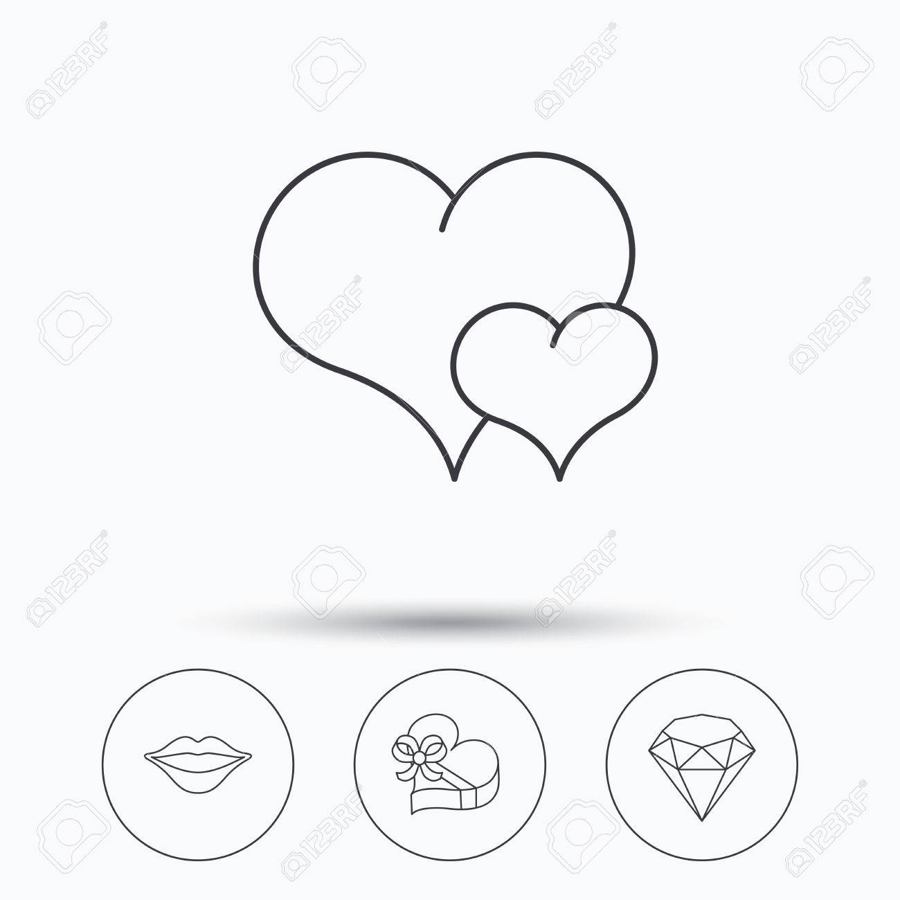 1300x1300 Love Heart, Brilliant And Gift Box Icons. Kiss Lips Linear Sign