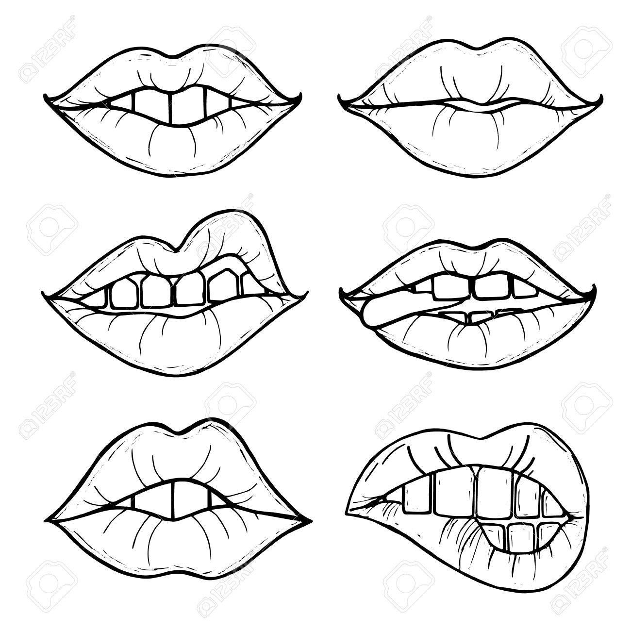 1300x1300 Open Female Mouth With Black Lips. Womens Lips Isolated On